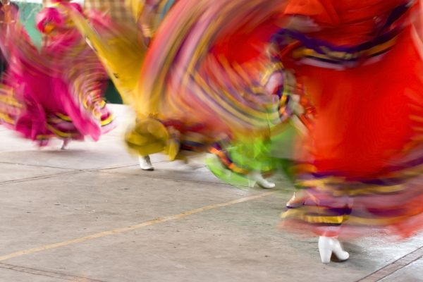 Mexican folklore dancers. Blurred motion.